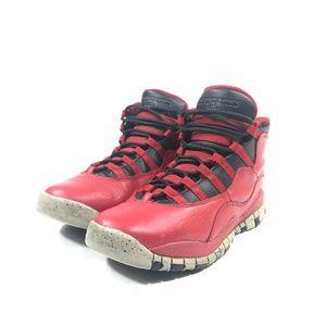 Kid's Air Jordan 10 Retro Gym Red Gray SIze 6Y